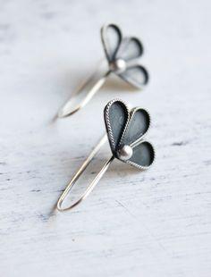 Belinda Saville - Earrings, sterling silver, floral, petal, flower, woodland, summer, minimal jewelry - The Peony Earrings