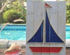 Voilier fait à la main avec corde plage palette art Art nautique Decor côtières corde Art palette Art