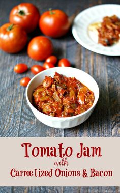 This tomato Jam is packed with flavor from the caramelized onions to the bacon to the sweetness of the tomatoes. Perfect on fish, chicken or crusty bread.