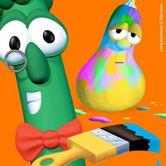 I feel like Archie here when I get artsy. I art all over the place. And I'm smiling the biggest smile I can muster. Silly Songs With Larry, Veggietales, Archie, Lava Lamp, Artsy, My Arts, Christian, Disney Characters, Veggies