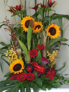 Farm themed sympathy arrangement  Mill Street Florist