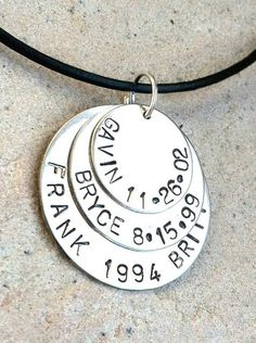 Mens Necklace, Mens Family Name Necklace, daddy necklace, gifts for dad,  hand stamped personalized necklace, personalized for men. $49.00, via Etsy.