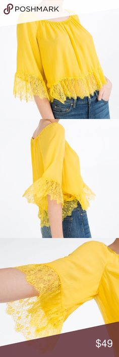 ZARA Pleated Yellow Top with Lace Detail Next day shipment. Brighten up your outfit with this top! Brand new with tags, never worn. Off-the-shoulder top. Lace detail. Pleated. 100% Viscose. Cheaper on Ⓜ️, just ask :) Zara Tops Blouses