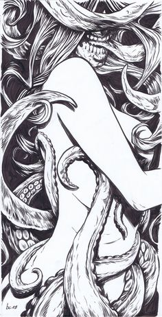 Becky Cloonan - The Awakening III (detail), 2008 Detail of inside artwork for a new CD by Miami Metal band Kalakai