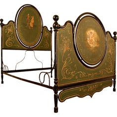 Antique Italian Painted Tole Queen Size Bed