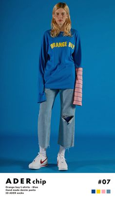 Styling with ADER color.  'Orange Boy' blue t-shirt with pink sleeve point.  www.adererror.com