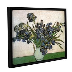 Vase with Violet Irises Against A Pink Background by Vincent Van Gogh Floater-Framed Painting Print on Gallery-Wrapped Canvas