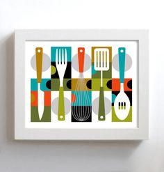 Mid Century Modern Kitchen Decor Kitchen Art Cooking Art por DexMex