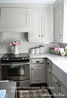 Like it or not, the kitchen cabinets are usually . - CLICK PIN for Lots of Kitchen Cabinet Ideas, Beautiful Kitchen Cabinets, Kitchen Cabinet Decor Ideas and other DIY Kitchen Cabinet Options. Kitchen Cabinets Decor, Farmhouse Kitchen Cabinets, Kitchen Cabinet Design, Painting Kitchen Cabinets, Kitchen Redo, Kitchen Ideas, Kitchen Paint, 1960s Kitchen, Ranch Kitchen