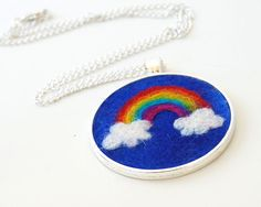 Felted Rainbow & Clouds Pendant  A Funky Felt by therainbowroom, $36.50