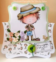 Gardener from the Polkadoodle cd Handmade Cards, Stamping, Doodles, Cartoon, Drawings, Craft Cards, Stamps, Stamp Sets, Cartoons