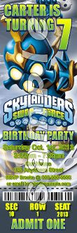 SKYLANDERS SWAP FORCE TICKET STYLE INVITATIONS (WITH ENVELOPES)
