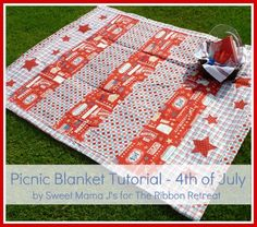 Picnic Blanket Tutorial – 4th of July from Ribbon Retreat blog.  Uses a vinyl tablecloth for the backing to make it waterproof on the bottom!
