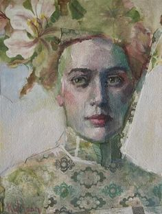 "green - woman -""Not From Here"" - Katie Wilson - figurative painting"