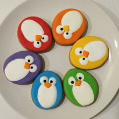 Colourful penguins by Butter Home Bakery Rock Painting Patterns, Rock Painting Ideas Easy, Rock Painting Designs, Paint Designs, Pebble Painting, Pebble Art, Stone Painting, Painted Rock Animals, Painted Rocks Kids