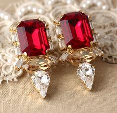 Ruby Earrings, Swarovski Ruby Earrings,Statement Ruby Earrings, Bridal Ruby Earrings, Gift For Her, Wedding Jewelry , Bridesmaids Earrings