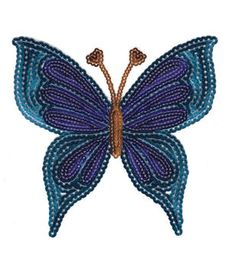 Blue Butterfly-Sparkly Sequin Medium Iron-On Applique