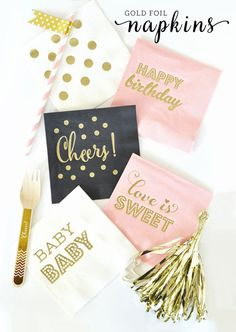 Gold Foil Polka Dot Napkins printed with matte gold foil dots are perfect for wedding receptions, baby showers, birthday parties, cocktails parties and