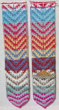 Traditional hand-knitted woollen socks, for women.  From the Sivas province, mid-20th century.  With a 'heart crook' pattern.  Source: 'Knitted stockings from turkish villages' (Prof. Kenan Özbel), 1981.
