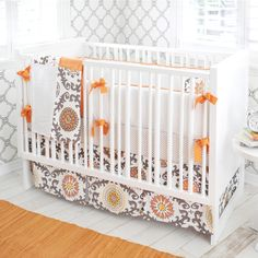 Ragamuffin in Tangerine 2-Piece Crib Bedding Set at Jack and Jill Boutique.