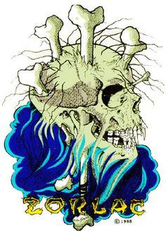 zorlac skull and bones sticker mini metallica Real Skateboards, Old School Skateboards, Vintage Skateboards, Grunge, Skateboard Deck Art, Skate Art, Nautical Art, Skull And Bones, Dark Art