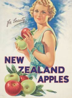 """Vintage Advertising Poster """"New Zealand Apples for Beauty"""""""