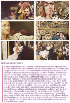Why Cosette Is Really A Heroine. *stands up and gives a round of applause* I always loved Cosette. She doesn't get nearly the love from the fandom that she deserves.