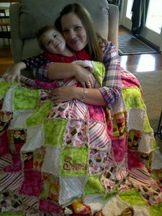 Crazy for Cupcakes Pink and Green Rag Quilt -  Lap Quilt Can be made in any size prices will vary for Double, Queen and King on Etsy, $300.00