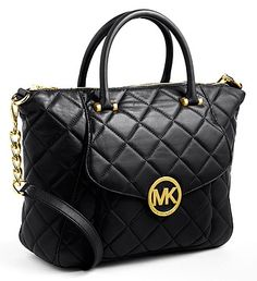 MICHAEL MICHAEL KORS FULTON QUILTED LEATHER SATCHEL BAG (BLACK)