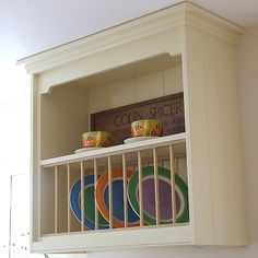 Cream Painted Shaker Kitchen Plate Rack. Shown here finished in Dulux Heritage Cream any Size or Colour can be made to order.