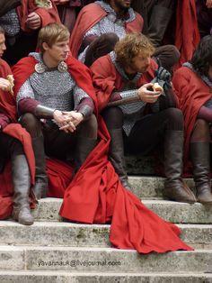 """""""Merlin"""" Bradley James (Arthur) & Rupert Young (Sir Leon)"""