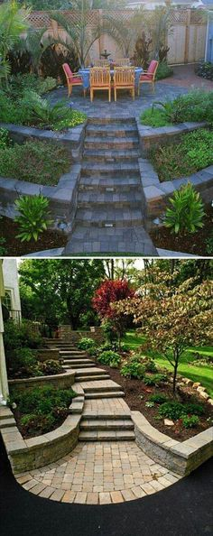 Yard is very important corner of your great house because it is the place you can relax in the upcoming warm days. So when you plan to design your house exterior, don't ignore the yard landscaping. And if you happen… Continue Reading → Landscaping A Slope, Landscaping Retaining Walls, Landscaping Ideas, Landscaping Software, Garden Steps, Diy Garden, Sloped Yard, Landscape Design Plans, Backyard Fences