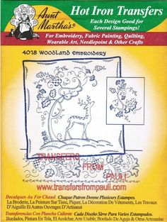 Woodland Crewel Aunt Martha's Embroidery Transfer Designs Pattern. $3.00, via Etsy.