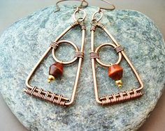 Wire Wrapped Triangle Earrings Copper wire by GearsFactory