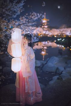 With cherry blossoms and lanterns at our traditional Japanese home near Kyoto.