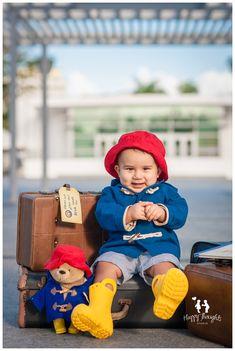 Cute baby boy Paddington Bear inspired Children Photography idea