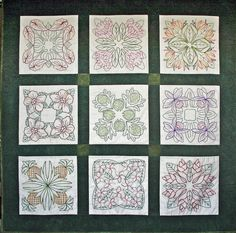 Hawaiian quilt patterns translated into embroidery -- Redwork gone Hawaiian
