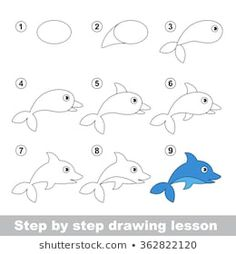 Illustration about Step by step drawing tutorial. How to draw a Dolphin. Illustration of learn, contour, dolphin - 65084329 Drawing Lessons For Kids, Art Drawings For Kids, Pencil Art Drawings, Easy Drawings, Animal Drawings, Art For Kids, Dolphins For Kids, Directed Drawing, Easy Doodle Art