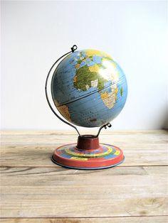 1940s Tin Ohio Art Globe. $39.00, via Etsy.