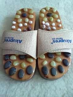 BEACH & HOME ACUPRESSURE WITH STONES SLIMMING MASSAGE SHOES FLIP FLOPS SLIPPERS #Handmade #FlipFlops