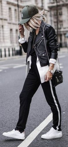 With A Cap, A Biker Jacket, A Long Open Blouse, Black and White Joggers, White Sneakers   Noholita