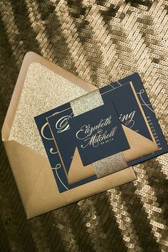 Foil  - Navy and Gold Glitter Calligraphy Wedding Invitations - SAMPLE (Lauren)