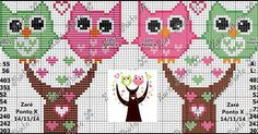 Bom dia minhas Amadas!!!! Tudo certinho com vocês? Estamos bem graças a Deus, terminado mais um bimestre de provas, depois de estudar muito,... Cross Stitch Owl, Cross Stitch For Kids, Cross Stitch Kits, Cross Stitch Charts, Cross Stitch Designs, Cross Stitching, Cross Stitch Embroidery, Cross Stitch Patterns, Charts And Graphs
