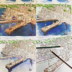 Fantastic Cities Great Page Coloring BooksColouringBuildingsPencilGrind