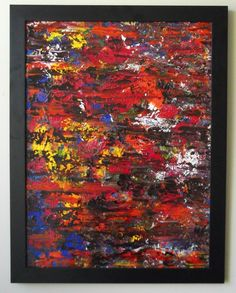 Items similar to Wall Art 18 X 24 Original Abstract New Seasons Acrylic Painting in Black Frame on Etsy Acrylic Art, Acrylic Paintings, Color Depth, Painted Paper, Shades Of Red, Color Inspiration, Original Paintings, Abstract Art, Seasons