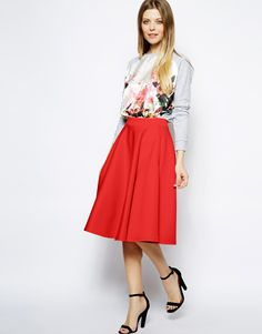 Full Midi Skirt In Scuba With Pockets