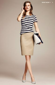 Banana Republic - not sure about the mesh look for the top but a nice spring update for a classic preppy look Khaki Skirt Outfits, Beige Skirt Outfit, Pencil Skirt Outfits, Casual Outfits, Work Outfits, Spring Outfits, Khaki Pants, Modest Fashion, Fashion Outfits