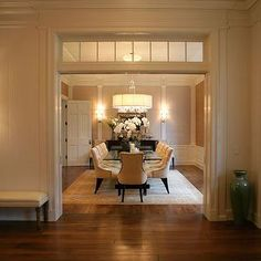 : transom window& pocket doors(?) between dining and living rooms to open up space. What you think?