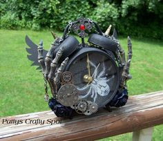 Tim Holtz Altered Clock Steampunk Gothic Gears Skeleton by Pattys Crafty Spot