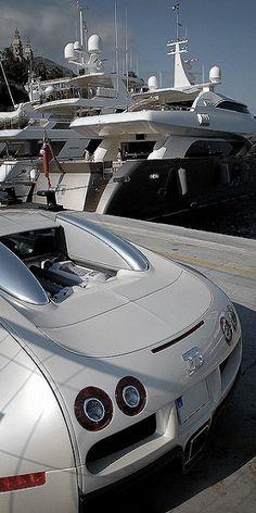 crates White Bugatti Veyron in front of the yachts in Monaco Port casual.White Bugatti Veyron in front of the yachts in Monaco Port casual. Porsche, Audi, Maserati, Luxury Yachts, Luxury Cars, Luxury Hotels, Big Yachts, Super Yachts, Rolls Royce